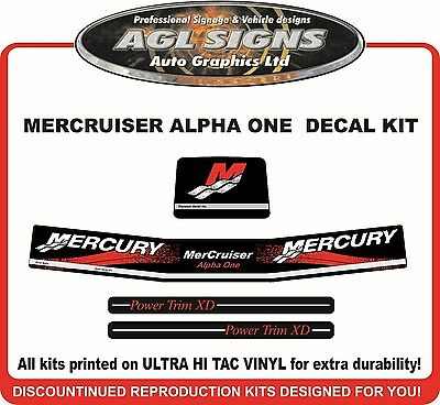 Mercury Alpha one  New Gen Outdrive 4 Piece Decal Kit Mercruiser
