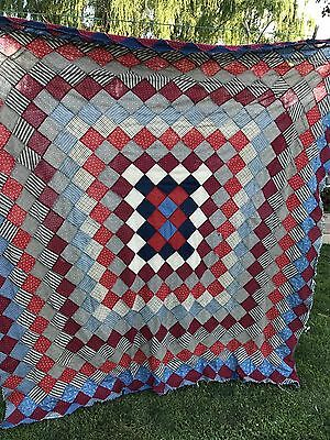 Vintage Early Calico Trip Around The World Quilt Top