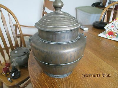 """Antique Two Tone COPPER Vase Urn Handled ARTS CRAFTS 15"""" Tall with Lid & 9"""" Wide"""