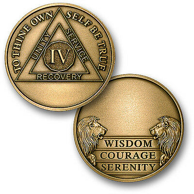 Aa Alcoholics Anonymous 4 Year Engravable  Recovery Sobriety Challenge  Coin