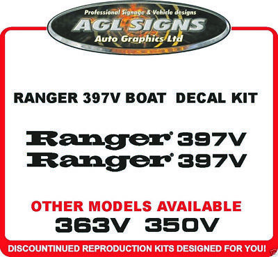 RANGER 397V BOAT DECALS ONE PAIR , reproduction 350V  363V 361V