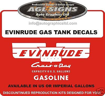 Evinrude Cruis-A-Day Gas Tank Decals  Set Of 2