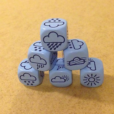 Weather Dice - Pack of 6 Dice - Blue 18mm for Games Six Sided Educational D111