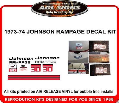 1973 1974 JOHNSON RAMPAGE DECAL KIT , reproductions