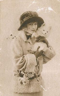 Old RARE Sepia Postcard PC Lady & White Pomeranian Eskimo Dog Puppy c1915 France