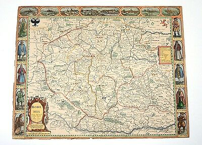 Original Antique 17th Century Map of BOHEMIA JOHN SPEED Bassett/Chiswell 1626