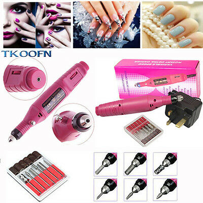 UK PLUG Electric Nail Drill Power 6 bits Acrylic Gel Remover Manicure Tool