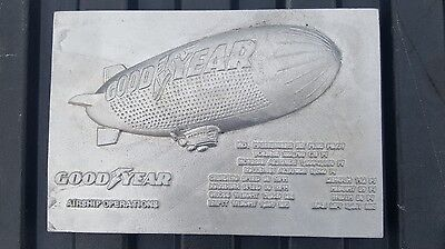 Vintage Goodyear Blimp Plaque Sign Airship Operations. Ad Advertisement