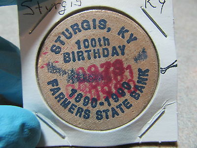 1990 Farmers State Bank Sturgis, KY Centennial Wooden Nickel Token - Kentucky