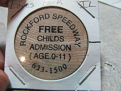Vintage Rockford Speedway Loves Park, IL Wooden Nickel Token - Illinois