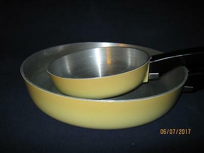 """Two {2} Club Aluminum Harvest Yellow Gold 6 1/2"""" & 10"""" Frying Pan Skillet {Nice}"""