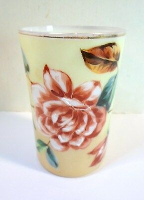 Antique OPAQUE MILK GLASS TUMBLER - PINK & WHITE ROSE Hand Enameled BRISTOL