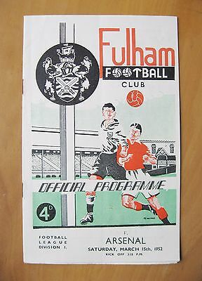 FULHAM v ARSENAL 1951/1952 *Excellent Condition Football Programme*