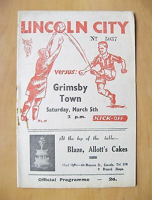 LINCOLN CITY v GRIMSBY TOWN 1948/1949 *VG Condition Football Programme*