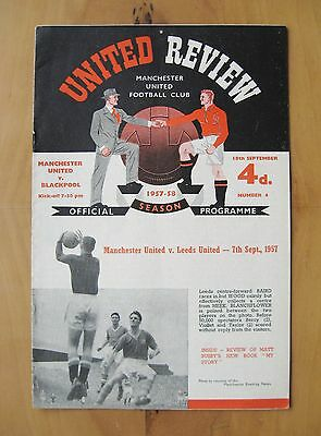 MANCHESTER UNITED v BLACKPOOL 1957/1958 *Exc Condition Munich Season Programme*