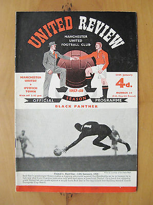MANCHESTER UNITED v IPSWICH FA Cup 1957/1958 Last Home Before Munich In Exc Cond