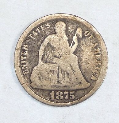 1875-CC Liberty Seated Dime Mintmark below the Bow  AG Carson City Silver 10c