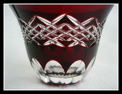Vintage Bohemian Ruby Red Clear Cut Crystal Candle Holder Small Glass Czech