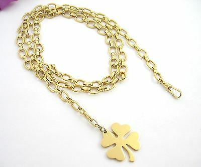 Monet FOUR 4 LEAF CLOVER Shamrock Vintage BELT Goldtone Metal LINKS Adjust 34""