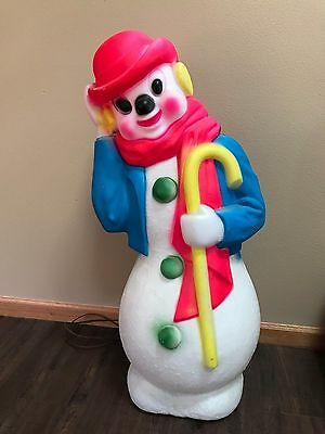 "Vtg Christmas 34"" 1971 Neon Empire Derby Snowman Lighted Blow Mold Decor"