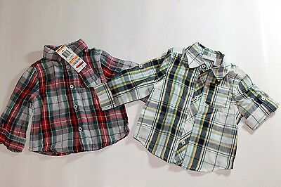 Boys 2pc First Impressions Plaid Long Short Sleeve Shirt 12 months 1st Year NEW
