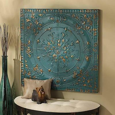 Tin Ceiling Tile Vintage Replica Distressed Metal Turquoise & Gold Wall Decor
