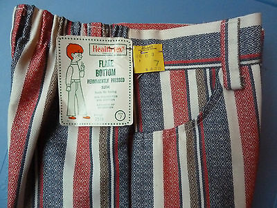 VINTAGE 60s 70s Healthtex Boys Sz 7 Slim Striped Bell Bottom Pants GROOVY NWT