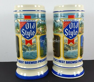 TWO (2) 1987 Old Style Limited Edition Best Brewed Premium Beer Steins