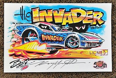 50Th Kenny Youngblood Signed The Invader Bitch! Corvette Dragster Cartoon Print