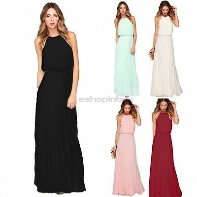 Women Formal Long Chiffon Dress Prom Gown Evening Bridesmaid Wedding Maxi Dress