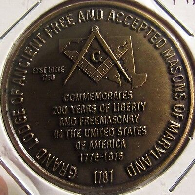 1976 Grand Lodge of Ancient Free and Accepted Masons of Maryland Token Coin - MD