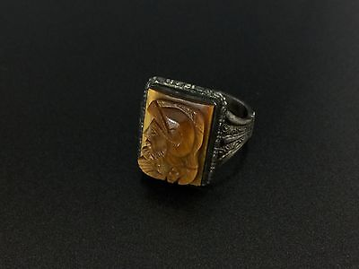 Vintage 835 Silver Tiger Eye Roman Soldier Cameo Ring Size 8.75