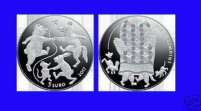 2017 SILVER coin Latvia Fairy tale III bear, a wolf, a mouse and a hare  PROOF