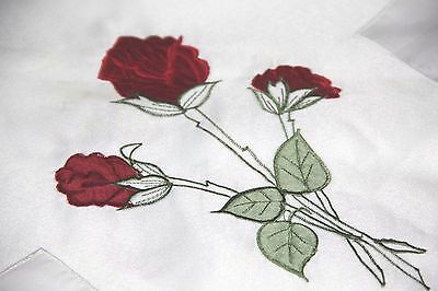 vintage table cloth no: B1 85 CM ROSES square embroidery red flowers