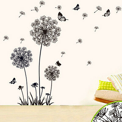 Dandelion Flowers Black Wall Stickers Art Decal Mural Home Decor Living Room DIY