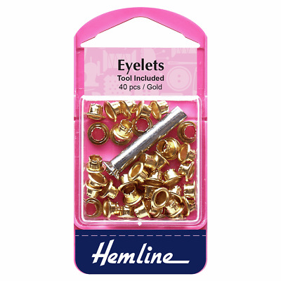 Small Eyelets, Tool Included GOLD, For Clothes ETC 40 pieces - 5.5mm, 1/5in.
