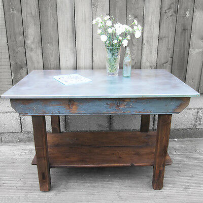 1940s Work Bench Table Rustic Industrial Kitchen Island Steampunk Upcycled Pine
