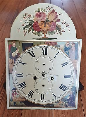 Antique Longcase Clock Movement Painted Dial J. Fullwood Newport. 20 - 14 Inch