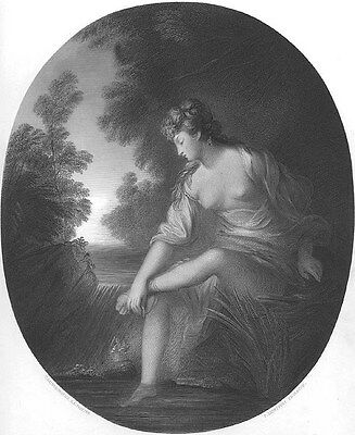 NAKED NUDE GIRL Woman MUSE in FOREST Breasts ~ Old 1853 GAINSBOROUGH Art Print
