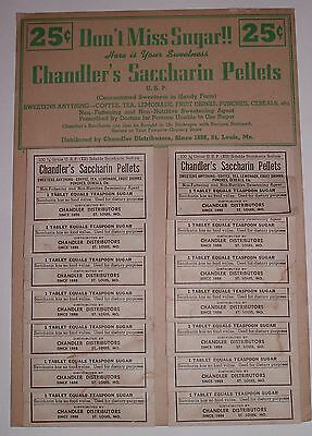Vintage / C, WW2 era 1940s Saccharin Pills Store Display / Chandler's St Louis