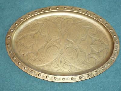 """Nice large 23"""" Arts & Crafts brass tray with hammered decoration."""
