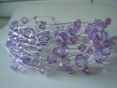 5 METRE  light  PURPLE ACRYLIC CRYSTAL GARLAND ON A SILVER WIRE/WEDDING/VASES