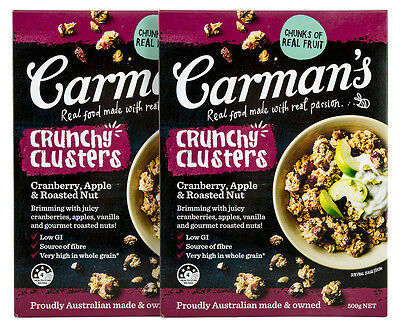 2 x Carman's Crunchy Clusters Cranberry, Apple & Roasted Nut 500g
