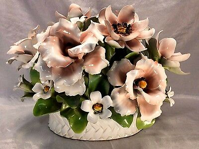Large Capodimonte Floral Centerpiece Roses & Magnolias Made in Italy NearPerfect