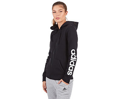 Adidas Women's Essentials Linear Full Zip Fleece Hoodie - Black/White