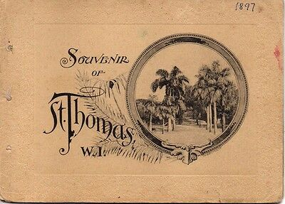 Rare St Thomas, West Indies photo Booklet with Synagoge & Panorama.1897 F.Fraas