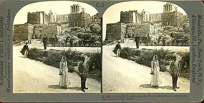 STEREO, Grèce, Athène, Entrance to Acropolis Vintage stereo card Tirage argent