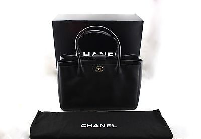 bdf86dc1a428 CHANEL Grand Shopping Executive Tote Black Leather Gold Shopper Shoulder  Bag New