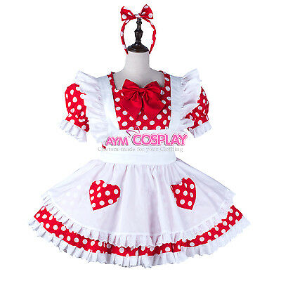 dots Cotton french sissy maid dress lockable Unisex Tailor-made[G2240]