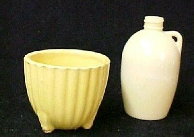 Vintage Miniature Whiskey Style Jug McCoy Footed Yellow Bowl Dish